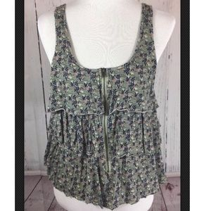 Urban Outfitters Floral Zip Front Tank Top - Med
